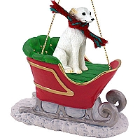 Whippet White Sleigh Ride Ornament