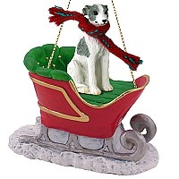 Whippet Gray & White Sleigh Ride Ornament