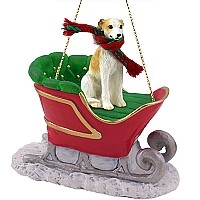 Whippet Tan & White Sleigh Ride Ornament