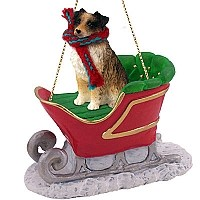 Australian Shepherd Brown Sleigh Ride Ornament