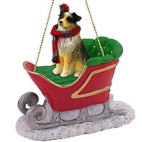 Australian Shepherd Brown w/Docked Tail Sleigh Ride Ornament