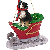Australian Shepherd Tricolor Sleigh Ride Ornament