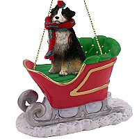 Australian Shepherd Tricolor w/Docked Tail Sleigh Ride Ornament
