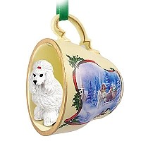 Poodle White Tea Cup Sleigh Ride Holiday Ornament
