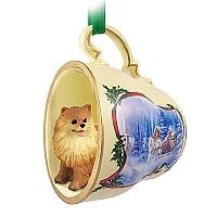 Pomeranian Red Tea Cup Sleigh Ride Holiday Ornament