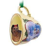 Yorkshire Terrier Tea Cup Sleigh Ride Holiday Ornament