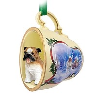Bulldog Tea Cup Sleigh Ride Holiday Ornament