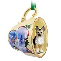 German Shepherd Tan & Black Tea Cup Sleigh Ride Holiday Ornament