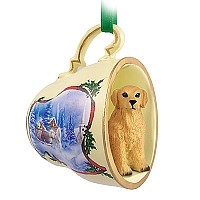 Golden Retriever Tea Cup Sleigh Ride Holiday Ornament