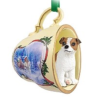 Jack Russell Terrier Brown & White w/Smooth Coat Tea Cup Sleigh Ride Holiday Ornament