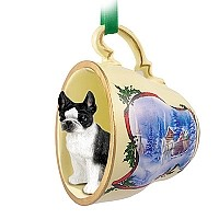 Boston Terrier Tea Cup Sleigh Ride Holiday Ornament