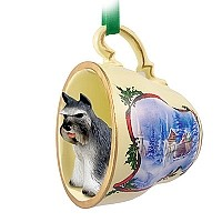 Schnauzer Gray Tea Cup Sleigh Ride Holiday Ornament
