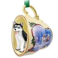 Husky Black & White w/Blue Eyes Tea Cup Sleigh Ride Holiday Ornament