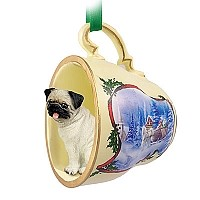 Pug Fawn Tea Cup Sleigh Ride Holiday Ornament