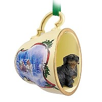 Dachshund Black Tea Cup Sleigh Ride Holiday Ornament