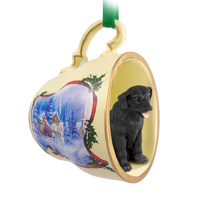 labrador retriever black tea cup sleigh ride holiday ornament - Black Lab Christmas Ornament
