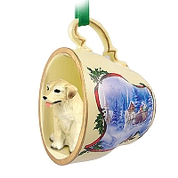 Labrador Retriever Yellow Tea Cup Sleigh Ride Holiday Ornament