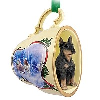 Doberman Pinscher Black w/Cropped Ears Tea Cup Sleigh Ride Holiday Ornament