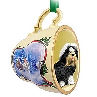Shih Tzu Black & White Tea Cup Sleigh Ride Holiday Ornament