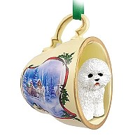 Bichon Frise Tea Cup Sleigh Ride Holiday Ornament
