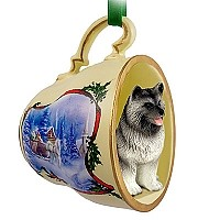 Keeshond Tea Cup Sleigh Ride Holiday Ornament