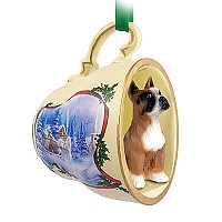 Boxer Tea Cup Sleigh Ride Holiday Ornament