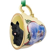 Scottish Terrier Tea Cup Sleigh Ride Holiday Ornament