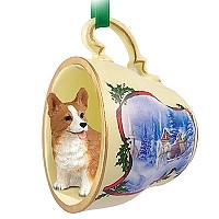 Welsh Corgi Pembroke Tea Cup Sleigh Ride Holiday Ornament