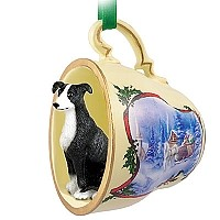 Greyhound Black & White Tea Cup Sleigh Ride Holiday Ornament