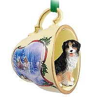 Bernese Mountain Dog Tea Cup Sleigh Ride Holiday Ornament