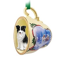 Border Collie Tea Cup Sleigh Ride Holiday Ornament