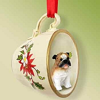 Bulldog Tea Cup Red Holiday Ornament