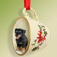 Rottweiler Tea Cup Red Holiday Ornament