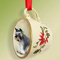 Schnauzer Gray Tea Cup Red Holiday Ornament