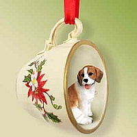 Beagle Tea Cup Red Holiday Ornament