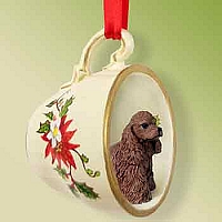 Cocker Spaniel Brown Red Holiday Tea Cup Ornament