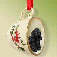 Cocker Spaniel Black Tea Cup Red Holiday Ornament