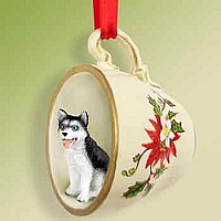 Husky Black & White w/Blue Eyes Red Holiday Tea Cup Ornament