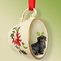 Dachshund Black Tea Cup Red Holiday Ornament