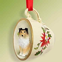 Sheltie Sable Tea Cup Red Holiday Ornament