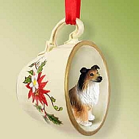 Collie Sable Tea Cup Red Holiday Ornament