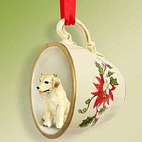 Labrador Retriever Yellow Tea Cup Red Holiday Ornament