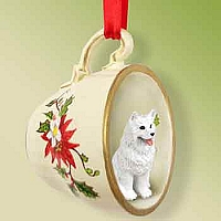 Samoyed Tea Cup Red Holiday Ornament