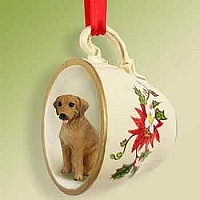 Rhodesian Ridgeback Tea Cup Red Holiday Ornament