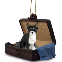 Chihuahua Black & White Traveling Companion Ornament
