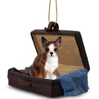 Chihuahua Brindle & White Traveling Companion Ornament
