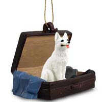 German Shepherd White Traveling Companion Ornament