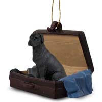 Great Dane Black w/Uncropped Ears Traveling Companion Ornament