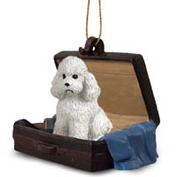 Poodle White w/Sport Cut Traveling Companion Ornament
