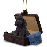 Poodle Black w/Sport Cut Traveling Companion Ornament